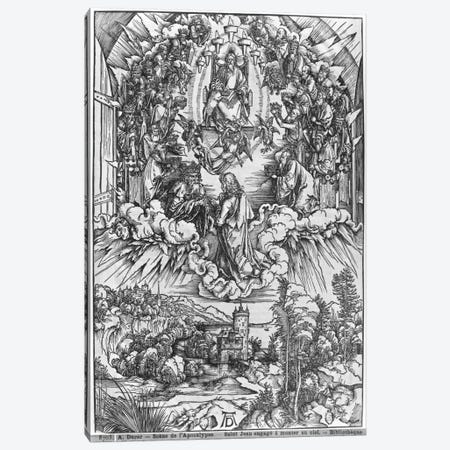 St. John Before God The Father And The Twenty-Four Elders (Illustration From The Apocalypse - German Edition) Canvas Print #BMN6584} by Albrecht Dürer Canvas Art Print