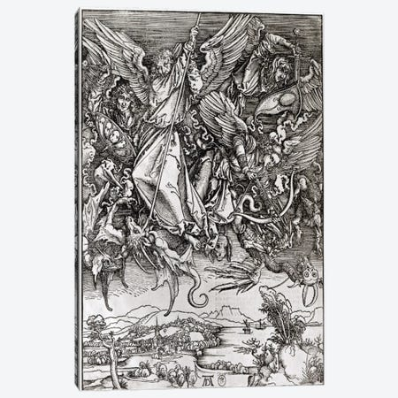 St. Michael And The Dragon (Latin Edition), 1511 Canvas Print #BMN6585} by Albrecht Dürer Canvas Art Print