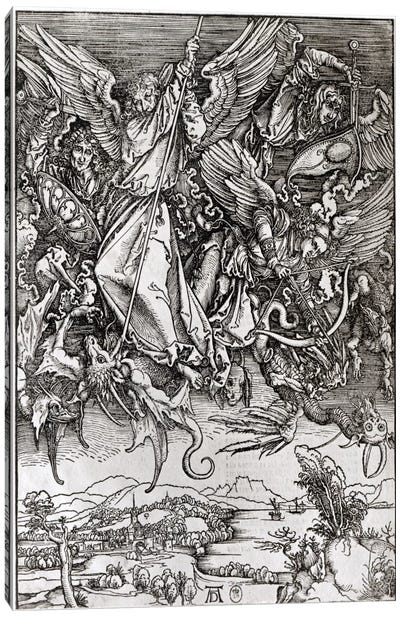 St. Michael And The Dragon (Latin Edition), 1511 Canvas Art Print