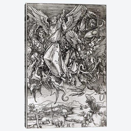 St. Michael And The Dragon (Latin Edition), 1511 Canvas Print #BMN6585} by Albrecht Dürer Canvas Art Print