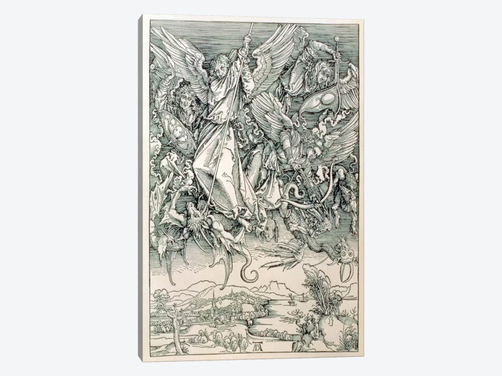 St. Michael Battling With The Dragon (Illustration From The Apocalypse) by Albrecht Dürer 1-piece Canvas Print