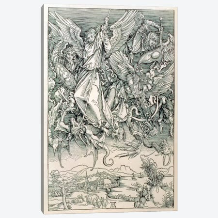St. Michael Battling With The Dragon (Illustration From The Apocalypse) Canvas Print #BMN6586} by Albrecht Dürer Canvas Art Print