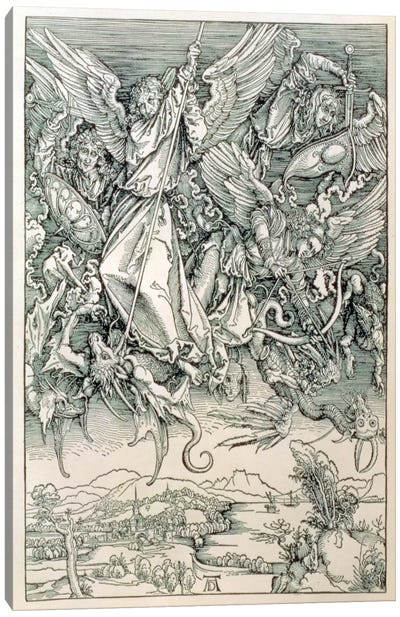 St. Michael Battling With The Dragon (Illustration From The Apocalypse) Canvas Art Print