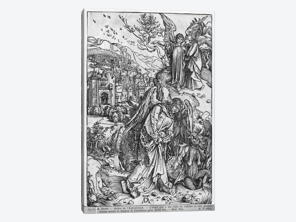 The Angel Holding The Keys Of The Abyss And A Big Chain, Enchains The Dragon For A Thousand Years (The Apocalypse - Latin Ed.) by Albrecht Dürer 1-piece Canvas Art Print