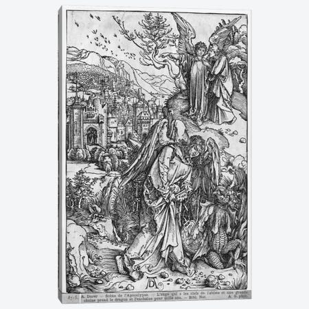 The Angel Holding The Keys Of The Abyss And A Big Chain, Enchains The Dragon For A Thousand Years (The Apocalypse - Latin Ed.) Canvas Print #BMN6588} by Albrecht Dürer Canvas Artwork