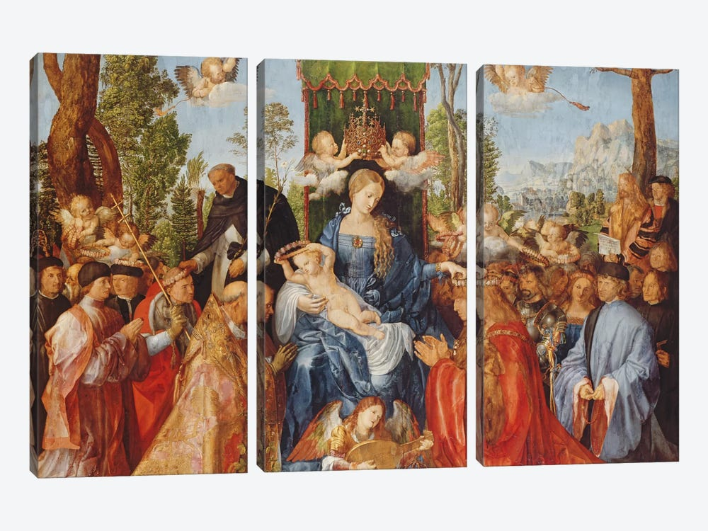 The Feast Of The Rose Garlands, 1506 by Albrecht Dürer 3-piece Canvas Art