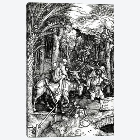 The Flight Into Egypt (Illustration From The Life Of The Virgin) Canvas Print #BMN6593} by Albrecht Dürer Art Print