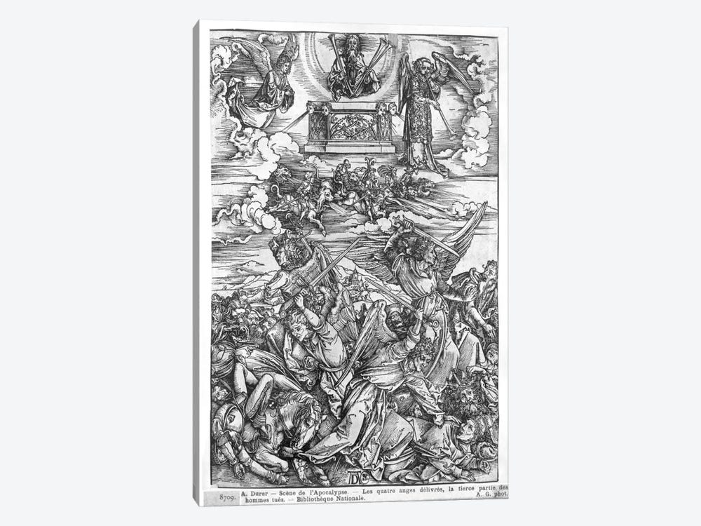 The Four Vengeful Angels (Illustration From The Apocalypse - Latin Edition) by Albrecht Dürer 1-piece Art Print
