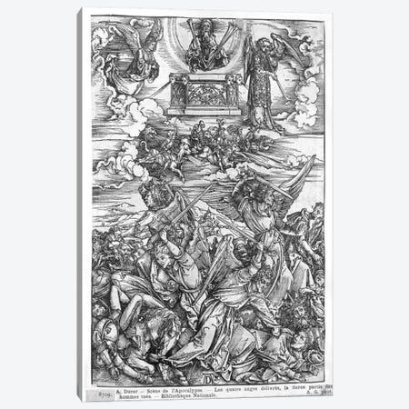 The Four Vengeful Angels (Illustration From The Apocalypse - Latin Edition) Canvas Print #BMN6595} by Albrecht Dürer Canvas Art