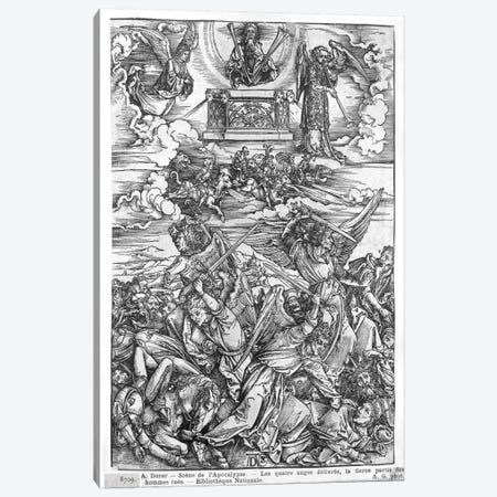 The Four Vengeful Angels (Illustration From The Apocalypse - Latin Edition) Canvas Print #BMN6595} by Albrecht Dürer Canvas Art