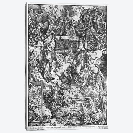 The Opening Of The Seventh Seal, The Seven Angels With The Trumpets (Illustration From The Apocalypse - Latin Edition) Canvas Print #BMN6599} by Albrecht Dürer Canvas Print