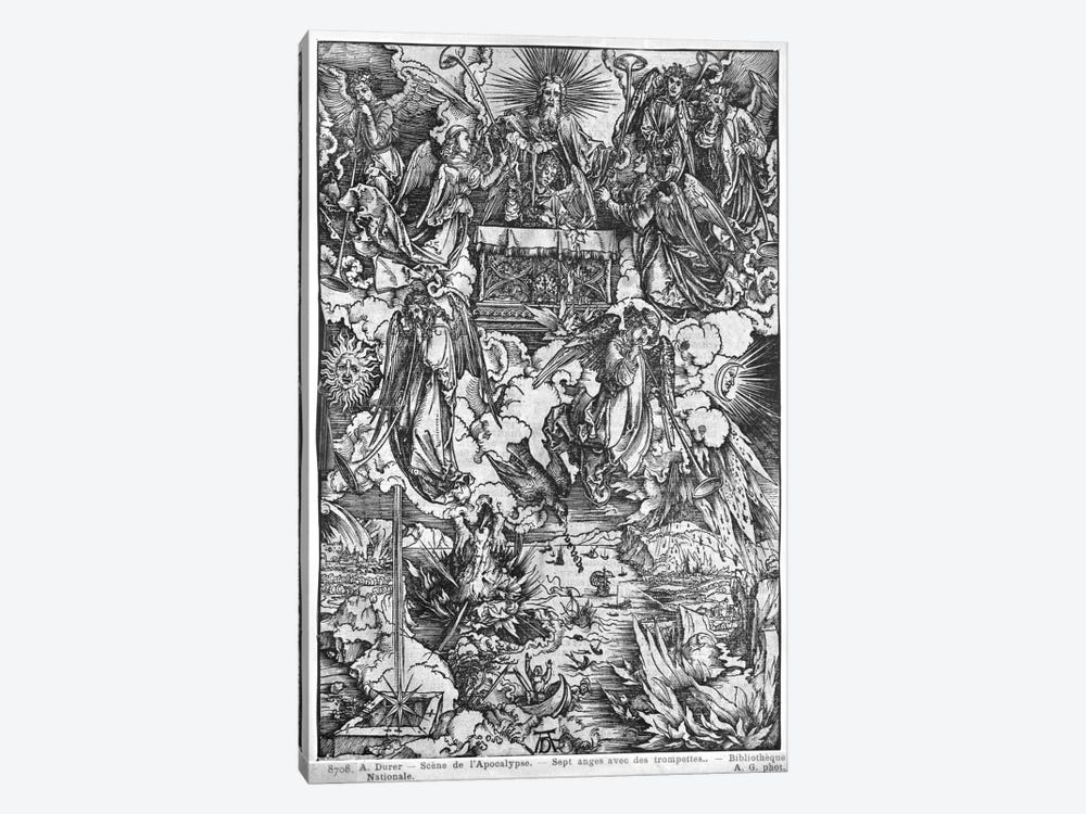The Opening Of The Seventh Seal, The Seven Angels With The Trumpets (Illustration From The Apocalypse - Latin Edition) by Albrecht Dürer 1-piece Art Print