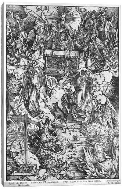 The Opening Of The Seventh Seal, The Seven Angels With The Trumpets (Illustration From The Apocalypse - Latin Edition) Canvas Art Print