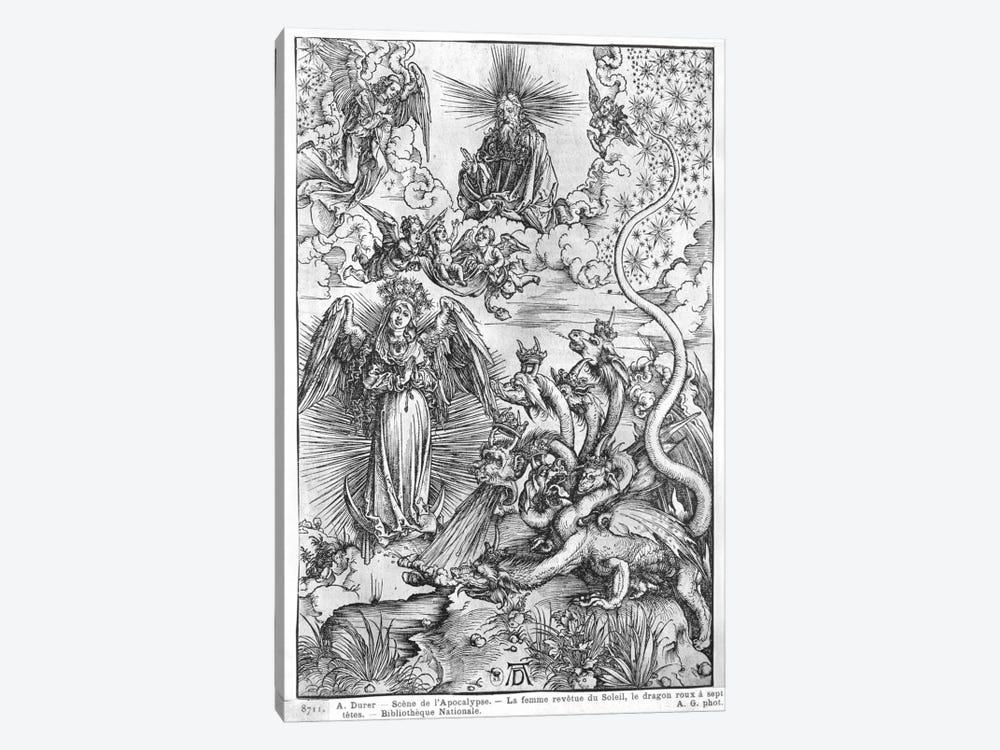 The Woman Clothed With The Sun And The Seven-Headed Dragon (Illustration From The Apocalypse - Latin Edition) by Albrecht Dürer 1-piece Canvas Print