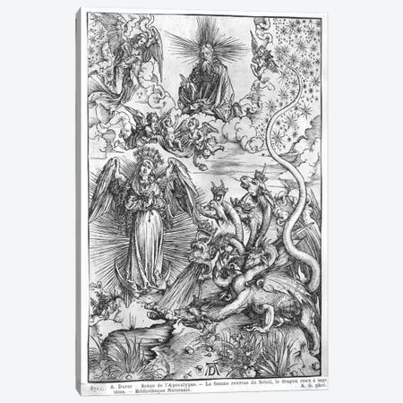 The Woman Clothed With The Sun And The Seven-Headed Dragon (Illustration From The Apocalypse - Latin Edition) Canvas Print #BMN6604} by Albrecht Dürer Canvas Wall Art