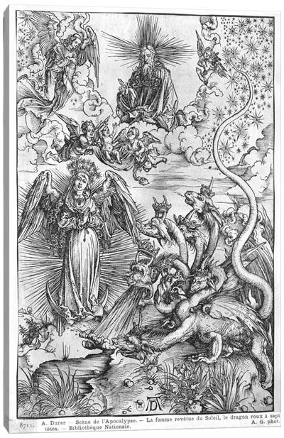 The Woman Clothed With The Sun And The Seven-Headed Dragon (Illustration From The Apocalypse - Latin Edition) Canvas Art Print