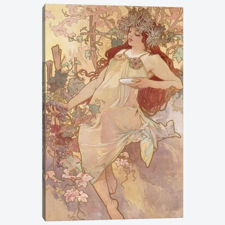 Autumn (Automne), c.1896 Canvas Print #BMN6609} by Alphonse Mucha Canvas Art Print
