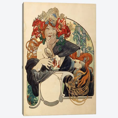 Bieres de La Meuse (Meuse Beer) Advertisement Draft Canvas Print #BMN6611} by Alphonse Mucha Canvas Art