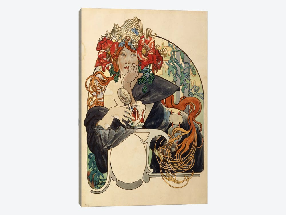 Bieres de La Meuse (Meuse Beer) Advertisement Draft by Alphonse Mucha 1-piece Canvas Print