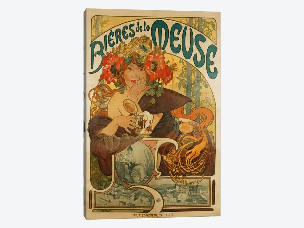 Bieres de La Meuse (Meuse Beer) Advertisement, 1897 by Alphonse Mucha 1-piece Canvas Artwork