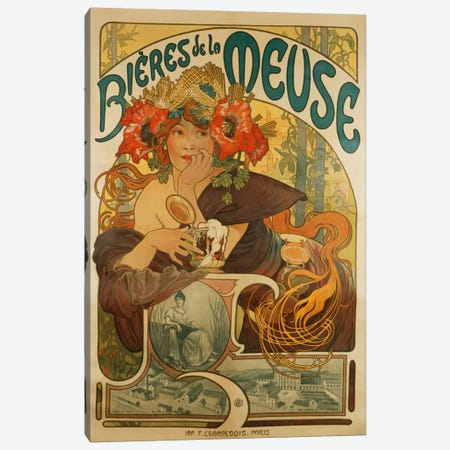 Bieres de La Meuse (Meuse Beer) Advertisement, 1897 Canvas Print #BMN6612} by Alphonse Mucha Canvas Art