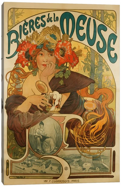 Bieres de La Meuse (Meuse Beer) Advertisement, 1897 Canvas Art Print