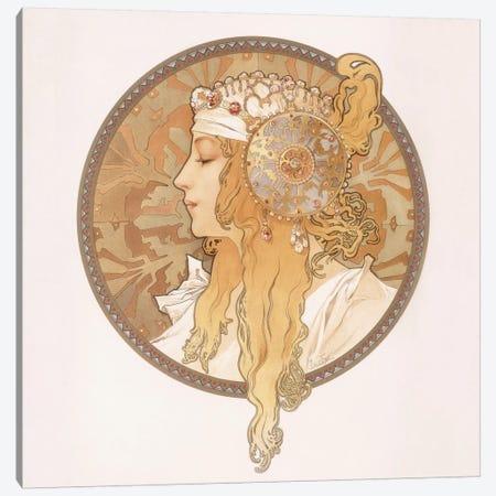 Byzantine Head Of A Blonde Maiden, c.1897 Canvas Print #BMN6613} by Alphonse Mucha Canvas Wall Art
