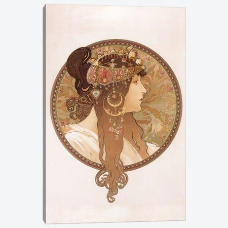 Byzantine Head Of A Brunette Maiden, c.1897 Canvas Print #BMN6614} by Alphonse Mucha Art Print