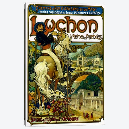 Fast And Luxurious Trains To Luchon France Advertisement, 1895 3-Piece Canvas #BMN6616} by Alphonse Mucha Canvas Art Print