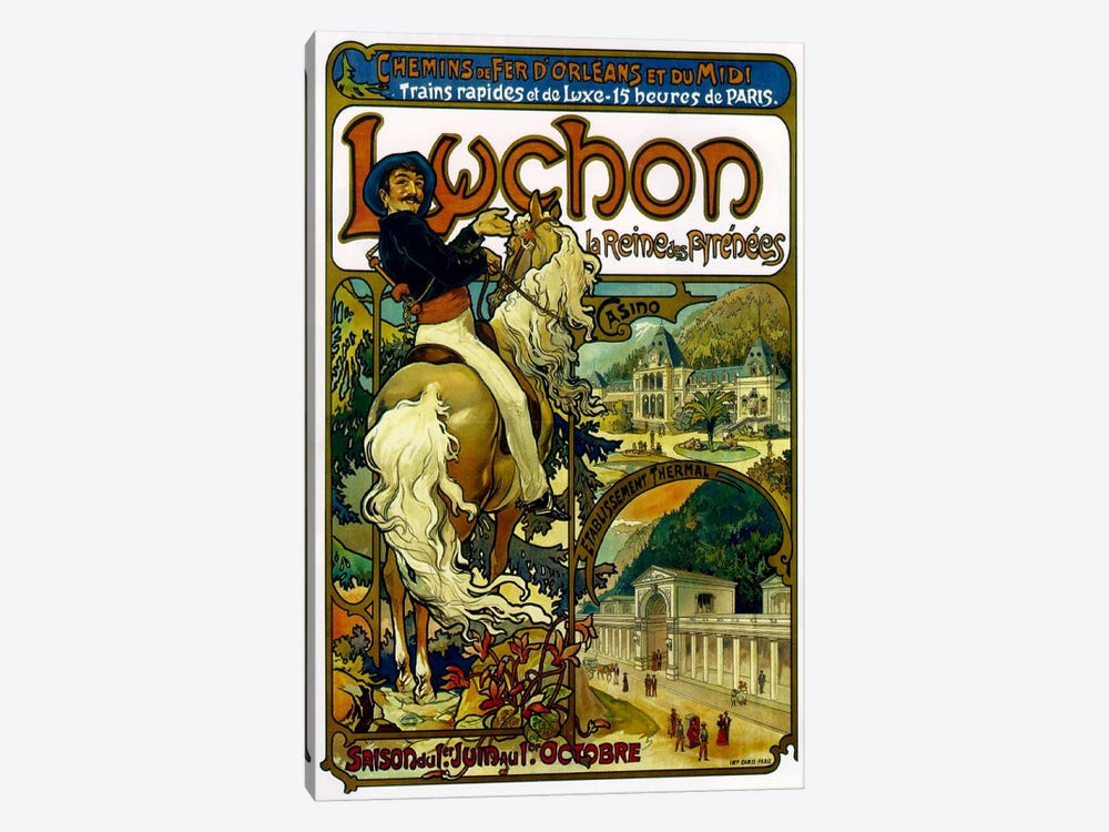 Fast And Luxurious Trains To Luchon France Advertisement, 1895 by Alphonse Mucha 1-piece Canvas Artwork