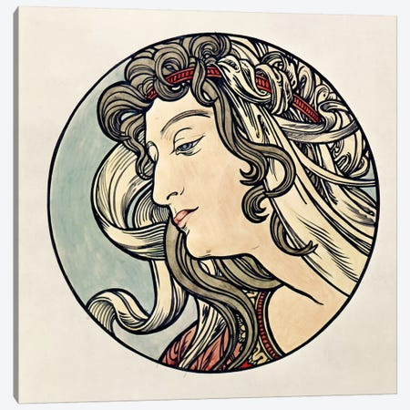 Head Of A Woman Canvas Print #BMN6617} by Alphonse Mucha Art Print