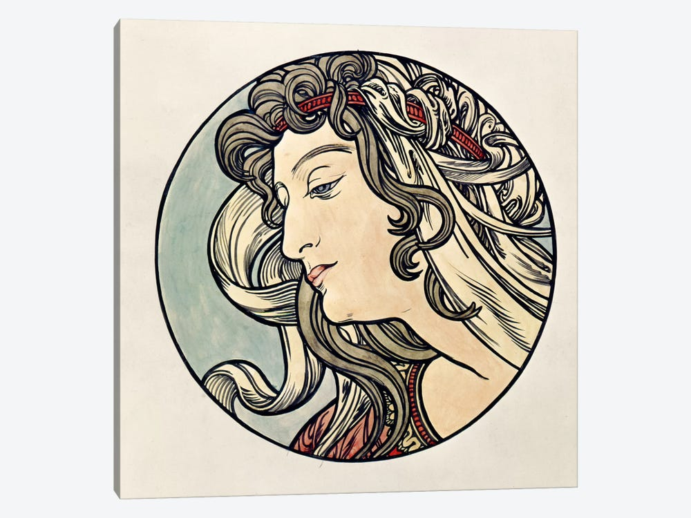 Head Of A Woman by Alphonse Mucha 1-piece Canvas Art Print