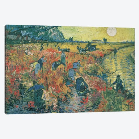 Red Vineyards at Arles, 1888  Canvas Print #BMN661} by Vincent van Gogh Canvas Wall Art