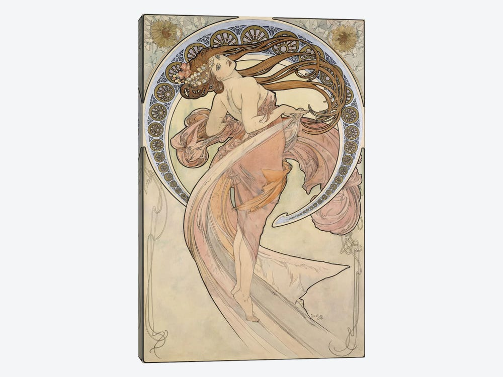 La Danse, 1898 by Alphonse Mucha 1-piece Canvas Art Print