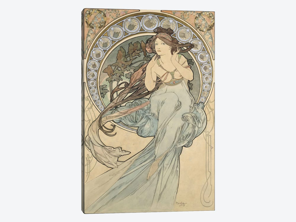 La Musique, 1898 by Alphonse Mucha 1-piece Canvas Artwork