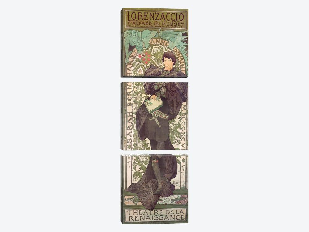 Lorenzaccio I (Featuring Sarah Bernhardt), 1896 by Alphonse Mucha 3-piece Canvas Artwork