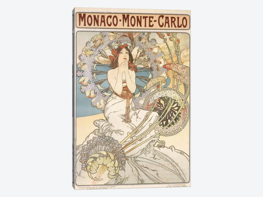 Monaco, Monte Carlo, 1897 by Alphonse Mucha 1-piece Canvas Artwork