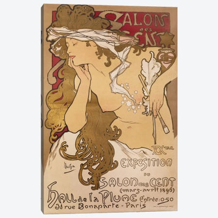 Salon des Cent, 1896 Canvas Print #BMN6630} by Alphonse Mucha Canvas Artwork