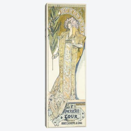 Sarah Bernhardt, American Tour, 1895 Canvas Print #BMN6631} by Alphonse Mucha Canvas Artwork