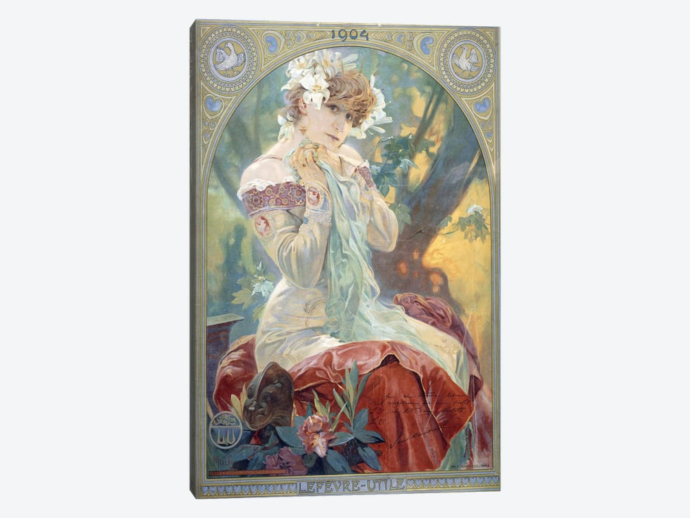 Sarah Bernhardt As La Princesse Lointaine (Lefevre-Utile Biscuit Co. Advertisment), 1904 by Alphonse Mucha 1-piece Canvas Wall Art