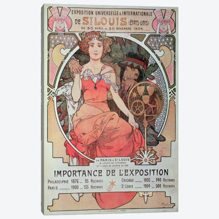 1904 World Fair (St. Louis, United States) Advertisement Canvas Print #BMN6634} by Alphonse Mucha Art Print