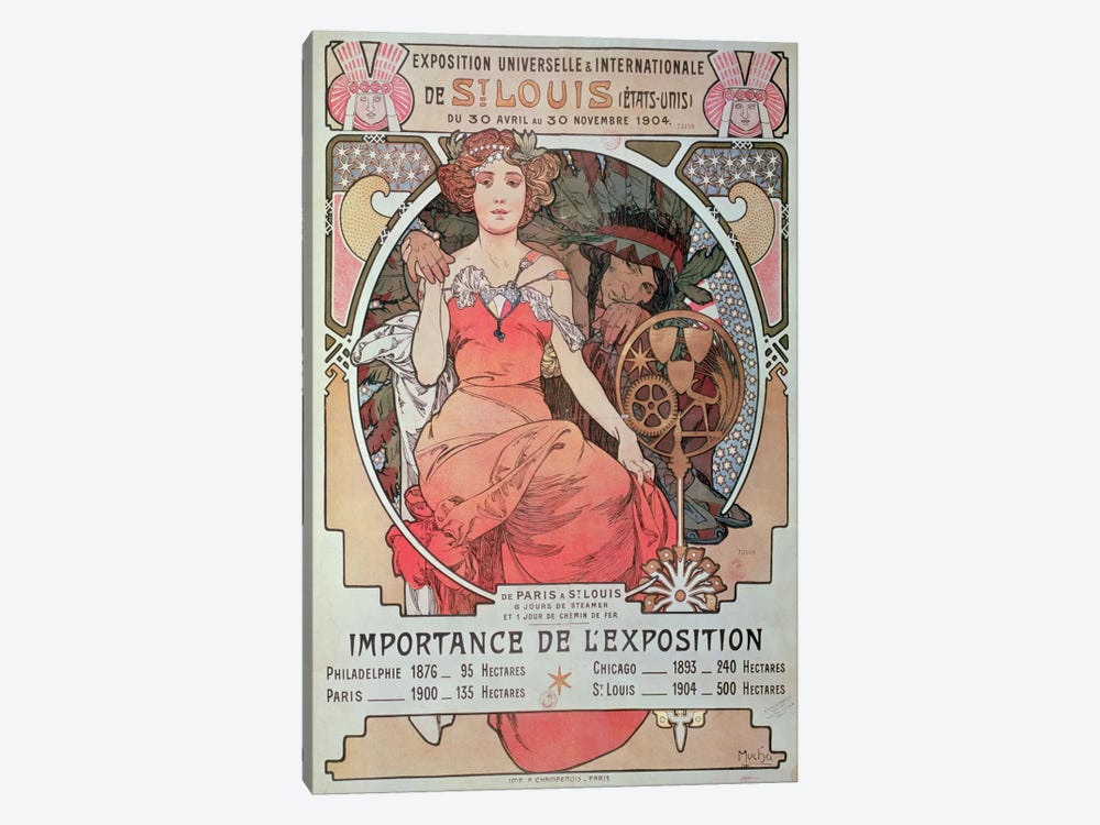 1904 World Fair (St. Louis, United States) Advertisement by Alphonse Mucha 1-piece Canvas Artwork