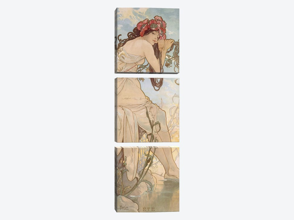 Summer (Ete), c.1896 by Alphonse Mucha 3-piece Art Print