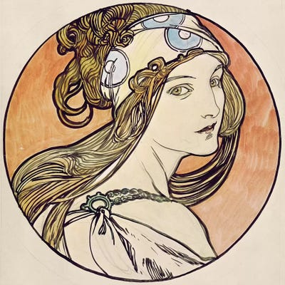 Woman With A Headscarf Canvas Wall Art by Alphonse Mucha ...