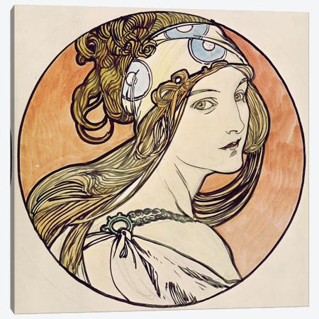 Woman With A Headscarf Canvas Print #BMN6638} by Alphonse Mucha Canvas Artwork