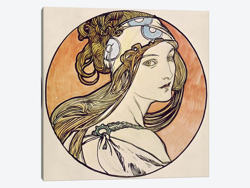 Woman With A Headscarf by Alphonse Mucha 1-piece Canvas Art