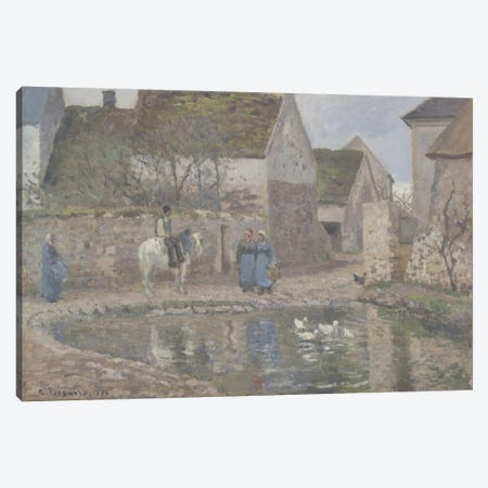 A Pond In Ennery, 1874 3-Piece Canvas #BMN6639} by Camille Pissarro Canvas Wall Art