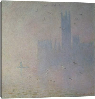 Seagulls over the Houses of Parliament, 1904 Canvas Print #BMN663