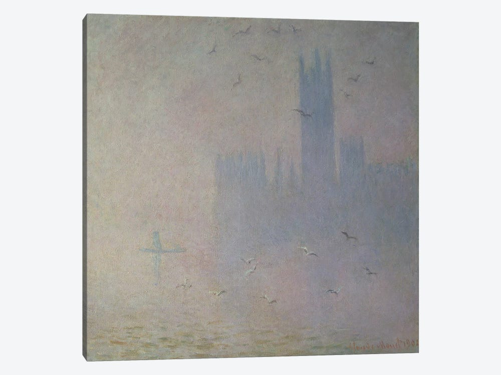 Seagulls over the Houses of Parliament, 1904 1-piece Canvas Artwork