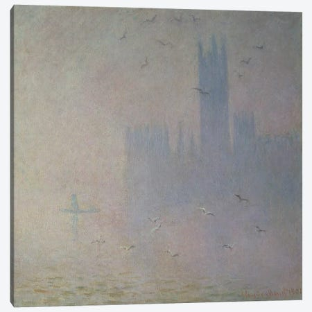 Seagulls over the Houses of Parliament, 1904 Canvas Print #BMN663} by Claude Monet Canvas Art